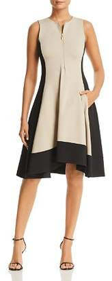 Donna Karan Color Block Zip Front Dress
