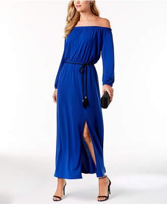 Nine West Tassel-Belt Off-The-Shoulder Maxi Dress