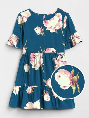 Gap Floral Bell-Sleeve Tiered Dress