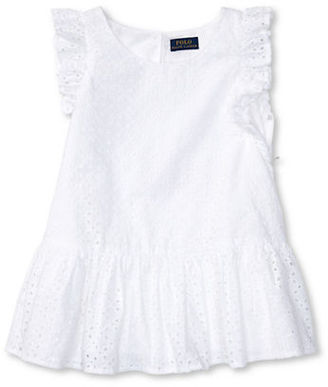 Ralph Lauren Childrenswear Girls 7-16 Girls Eyelet Cotton Peplum Top $45 thestylecure.com