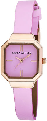 Laura Ashley Womens Pink Petite Case With Matching Colored Sunray Dial Watch La31004Pk $295 thestylecure.com