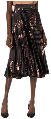 Vince Mixed Tulip Print Pleated Skirt