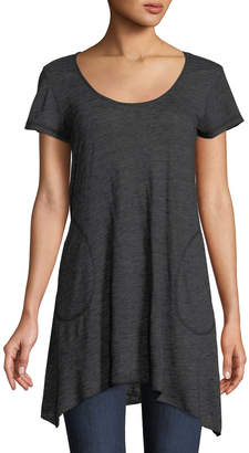 Allen Allen Short-Sleeve Angled Tunic with Pockets