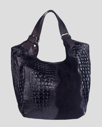 Mona black Croc embossed Italian leather/ Suede Hobo
