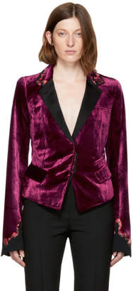 Haider Ackermann Burgundy Embroidered Velvet Crop Blazer