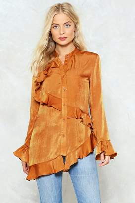 Nasty Gal Ruffle on Over Satin Shirt