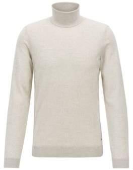 BOSS Hugo Turtleneck sweater in extra-fine Italian merino wool M Light Beige