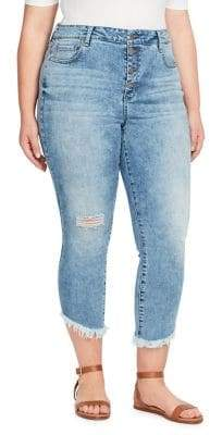 William Rast Plus High-Rise Button-Front Crop Jeans