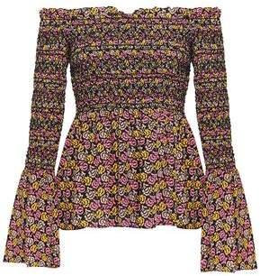 A.L.C. Agra Off-The-Shoulder Shirred Floral-Print Silk-Crepe Top