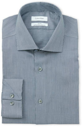 Calvin Klein Navy Check Slim Fit Performance Non-Iron Dress Shirt
