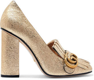 Gucci Marmont Fringed Logo-embellished Metallic Cracked-leather Pumps - Gold