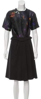 Preen by Thornton Bregazzi Preen Pleat-Accented Knee-Length Dress