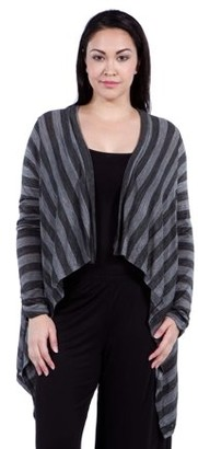 24/7 Comfort Apparel Women's Plus Size Casual Charcoal Printed Shrug