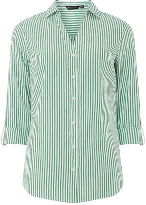 Dorothy Perkins Womens Green Striped Cotton Shirt