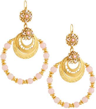 Jose & Maria Barrera Beaded Hoop Earrings, Pink