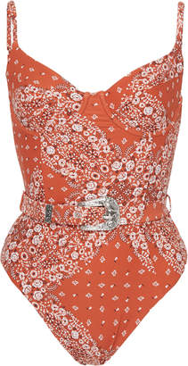 Onia + WeWoreWhat Belted Bandana-Print Swimsuit
