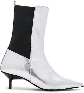 Marques Almeida Marques ' Almeida Leather Pointy Kitten Heel Boots in Silver | FWRD