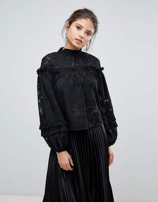 Missguided High Neck Embroidered Top