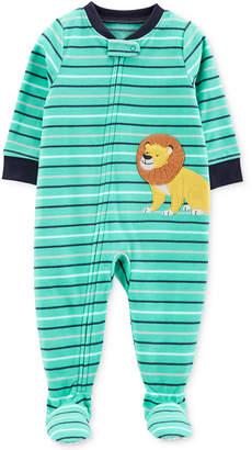 Carter's Baby Boys Striped Lion Fleece Footed Pajamas