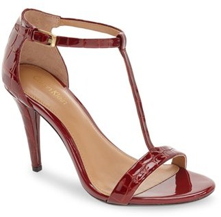 Women's Calvin Klein 'Nasi' Leather T-Strap Sandal $108.95 thestylecure.com