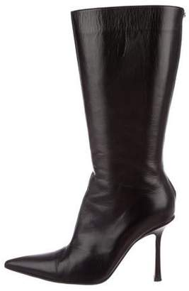 Jimmy Choo Leather Pointed-Toe Boots Black Leather Pointed-Toe Boots