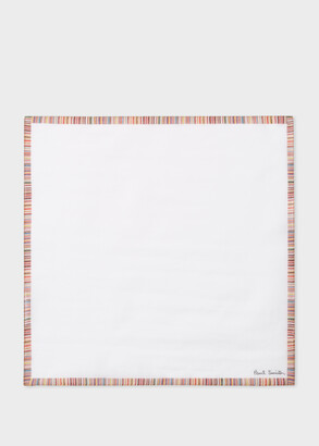 Paul Smith Men's White Cotton Pocket Square With 'Signature Stripe' Border