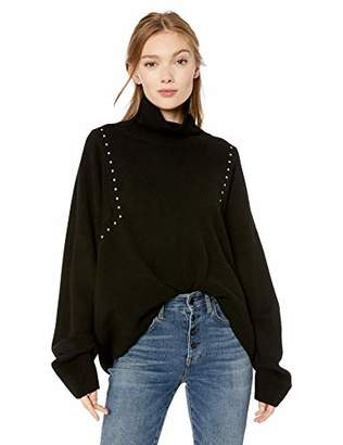 The Kooples Women's Women's Long Sleeve Turtleneck Sweater with Studded Details