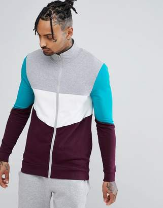 Asos DESIGN Muscle Track Jacket With Retro Color Blocking