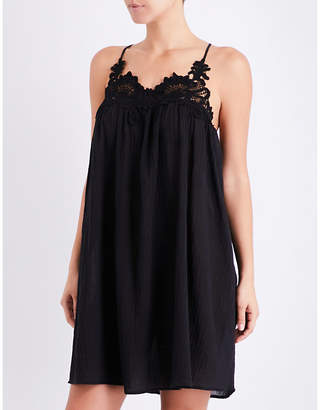 Seafolly Lace detail crinkled-cotton swing dress $93 thestylecure.com
