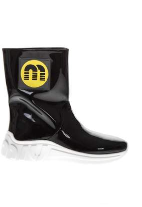 Miu Miu Black Color Rubber Boots With Logo Patch