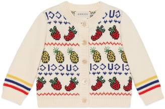 Gucci Baby pineapple and strawberry knit cardigan