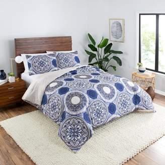 Vue Gwenn Medallion Navy 3-Piece Reversible Comforter Set, King