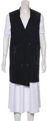 Rachel Zoe Wool-Blend Leather-Trimmed Vest