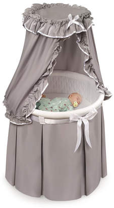 Badger Basket Empress Round Baby Bassinet With Canopy - Gray And White