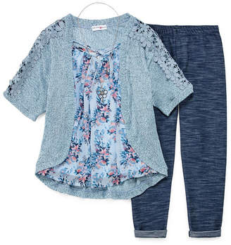 Knitworks Knit Works Floral Top & Cozy Legging Set with Necklace - Girls' 4-16 & Plus