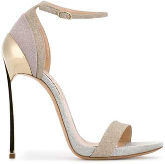 Casadei open toe glitter sandals