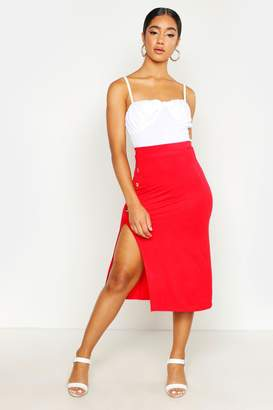 a3a11265a7f8d boohoo Button Side Split Skater Midi Skirt