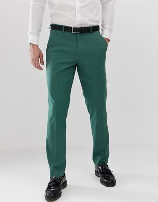 Asos DESIGN Wedding Slim Suit Pants In Pine Green