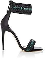 Altuzarra Women's Leather & Python Braided Ankle-Strap Sandals - Green