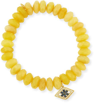 Sydney Evan 10mm Yellow Opal Beaded Bracelet with Diamond & Sapphire Flower Eye Charm