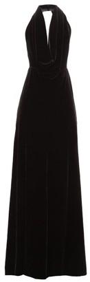 A.W.A.K.E. Mode Oyster Halterneck Velvet Maxi Dress - Womens - Black