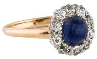 Ring Antique 14K Sapphire & Diamond Cocktail