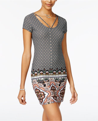 Planet Gold Mixed-Print T-Shirt Dress $39 thestylecure.com