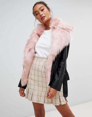 Parisian Faux Leather Jacket With Faux Fur Collar