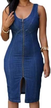 JLHua Women Denim Sleeveless Dress Slim Furcal Low Cut Cowboy Mini Skirt