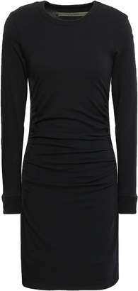 Enza Costa Ruched Stretch Cotton And Cashmere-blend Mini Dress