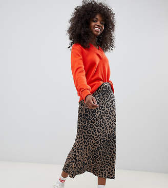 Asos DESIGN Petite bias cut satin midi skirt in leopard print
