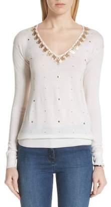 St. John Embellished Wool, Silk & Cashmere Sweater