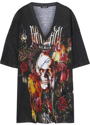 Balmain Oversized Printed Slub Linen-Jersey T-Shirt