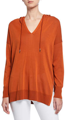 Lafayette 148 New York Long-Sleeve Cotton Crepe Relaxed Pullover Hoodie